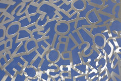 Letters. White letters against sky, close up to sculpture in Zaragoza exhibition place royalty free stock photos