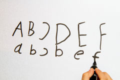 Letters on Whiteboard Royalty Free Stock Images