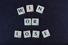 Letters win or lose Stock Photo