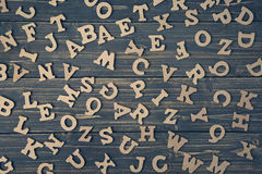 Letters on a wooden background Stock Photography