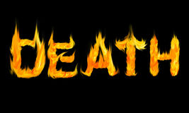 Letters. The word Death written with letters made from fire Stock Images