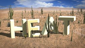 Letters of the word heat in the desert Stock Photography