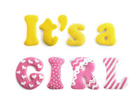 Letters word It`s a girl handicraft Royalty Free Stock Photos