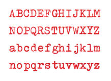Red letters ABCD. Letters written with a typewriter on white paper Royalty Free Stock Photos