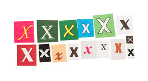 Letters X from newspapers Royalty Free Stock Photos