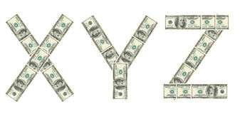 Letters X, Y, Z made of dollars Stock Photo
