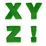 Letters X,Y,Z,! made of green grass isolated on white Stock Image
