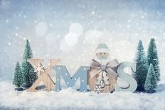 Letters Xmas and christmas decoration Stock Photo