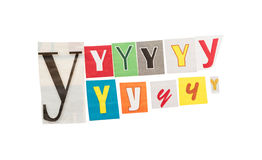 Letters Y from newspapers Royalty Free Stock Photo