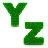 Letters Y, Z of 3d Green Grass - Set. Stock Photos