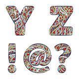 Letters Y, Z, exclamation mark, question mark, at commercial. Set colorful alphabet of doodles patterns. Stock Image