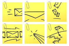 Letters | Yellow Sticker series. Vector icons on yellow sticker with paper clip stock illustration