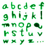 Letters A-Z (English lowercase) dripping with green blood on whi Royalty Free Stock Photography