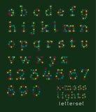 Letterset bożonarodzeniowe światła (lowercase) Royalty Ilustracja