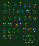 Letterset Christmas lights (lowercase) Royalty Free Stock Image
