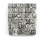 Letterzetsel - blokletter Engels alfabet en aantal royalty-vrije stock afbeeldingen