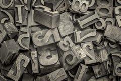 Letterzetsel houten type blokkenachtergrond Stock Fotografie