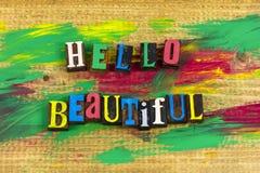 Letterzetsel van de de liefdevriendschap van Hello het mooie Stock Foto's