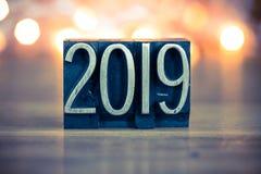 2019 Letterzetseltype van het Conceptenmetaal Royalty-vrije Stock Fotografie