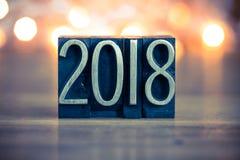 2018 Letterzetseltype van het Conceptenmetaal Royalty-vrije Stock Foto's
