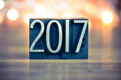 2017 Letterzetseltype van het Conceptenmetaal Royalty-vrije Stock Foto