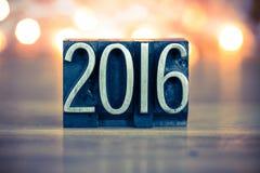 2016 Letterzetseltype van het Conceptenmetaal Royalty-vrije Stock Foto