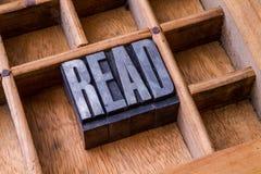 Letterzetterlade: 'LEES' Stock Afbeelding