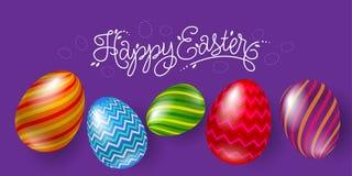 Letthering e cinco ovos da páscoa bonitos em um fundo violeta ilustração stock