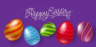 Letthering and five beautiful Easter eggs on a violet background stock illustration
