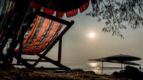 letti della spiaggia Fotografie Stock
