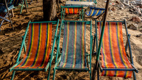 letti della spiaggia Fotografia Stock