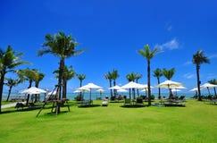 Letti della tela sulla spiaggia tropicale con il cocco e gli ombrelli. Fotografia Stock Libera da Diritti