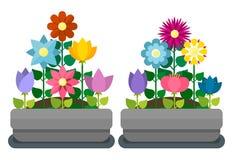 Letti di fiore nello stile piano Fotografia Stock