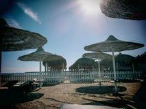 Letti soleggiati della plancia degli ombrelli di spiaggia della località di soggiorno di mattina Fotografie Stock Libere da Diritti