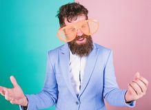 Letting the good times roll. Fashion man with long beard in formal wear. Bearded man wearing party goggles. Funny stock image