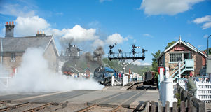 Letting off steam. Sir Nigel Gresley a famous steam train Stock Photography