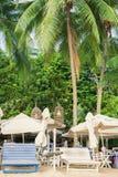 Lettini alla spiaggia di Siloso della località di soggiorno di isola di Sentosa a Singapore Fotografia Stock Libera da Diritti