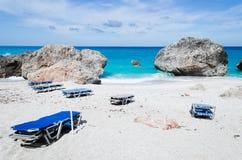 Lettini sulla spiaggia Immagini Stock Libere da Diritti