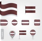 Lettische Flaggenikone Lizenzfreie Stockfotos