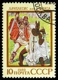 Lettisk epos Lachplesis, epons av nationer av USSR-serie, circa 1989 arkivbild