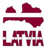 Lettland översiktsflagga och textillustration vektor illustrationer