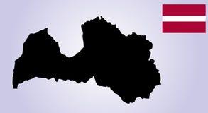 Lettland översiktskontur Vektorflagga av Lettland stock illustrationer