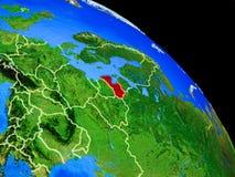 Lettland auf Planet Erde vektor abbildung