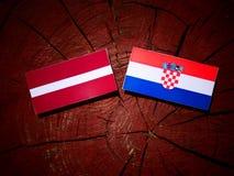 Lettland flagga med den kroatiska flaggan på en trädstubbe Royaltyfri Bild