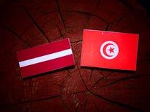Lettland flagga med den tunisiska flaggan på en isolerad trädstubbe Royaltyfria Foton