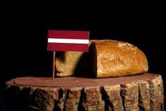 Lettland flagga på en stubbe med bröd Arkivbilder