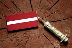 Lettland flagga på en stubbe med injektionssprutan som injicerar pengar Royaltyfri Bild