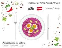 Lettland kokkonst Europeisk nationell maträttsamling Lettisk förkylning vektor illustrationer