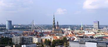 Lettland Riga. Stadspanorama. Arkivbilder