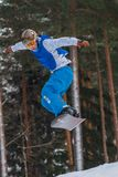 Lettland stad Cesis, vinter, Snowboardmästerskap, snowboarder, Royaltyfria Foton